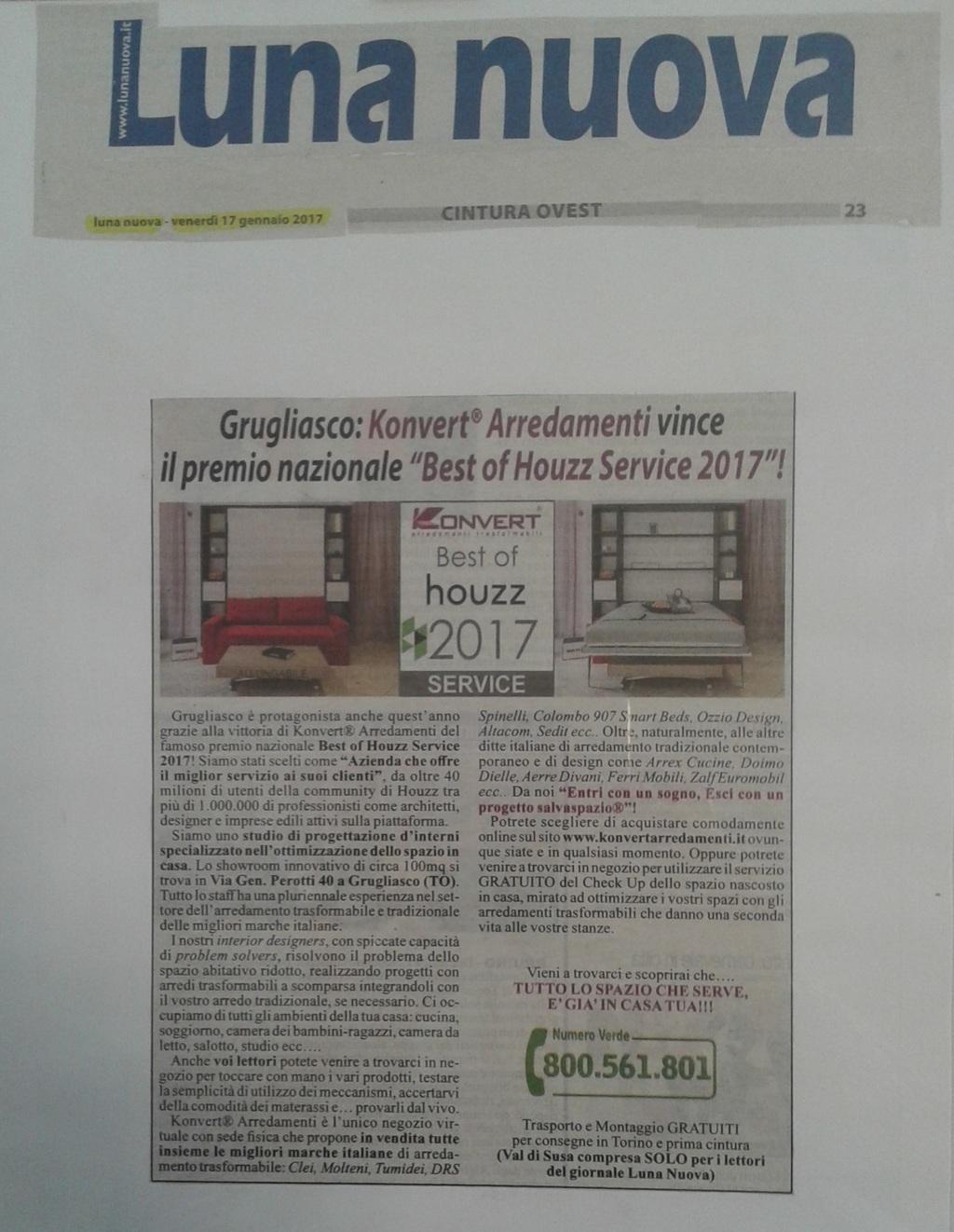 Redazionale di Konvert sul giornale Luna Nuova