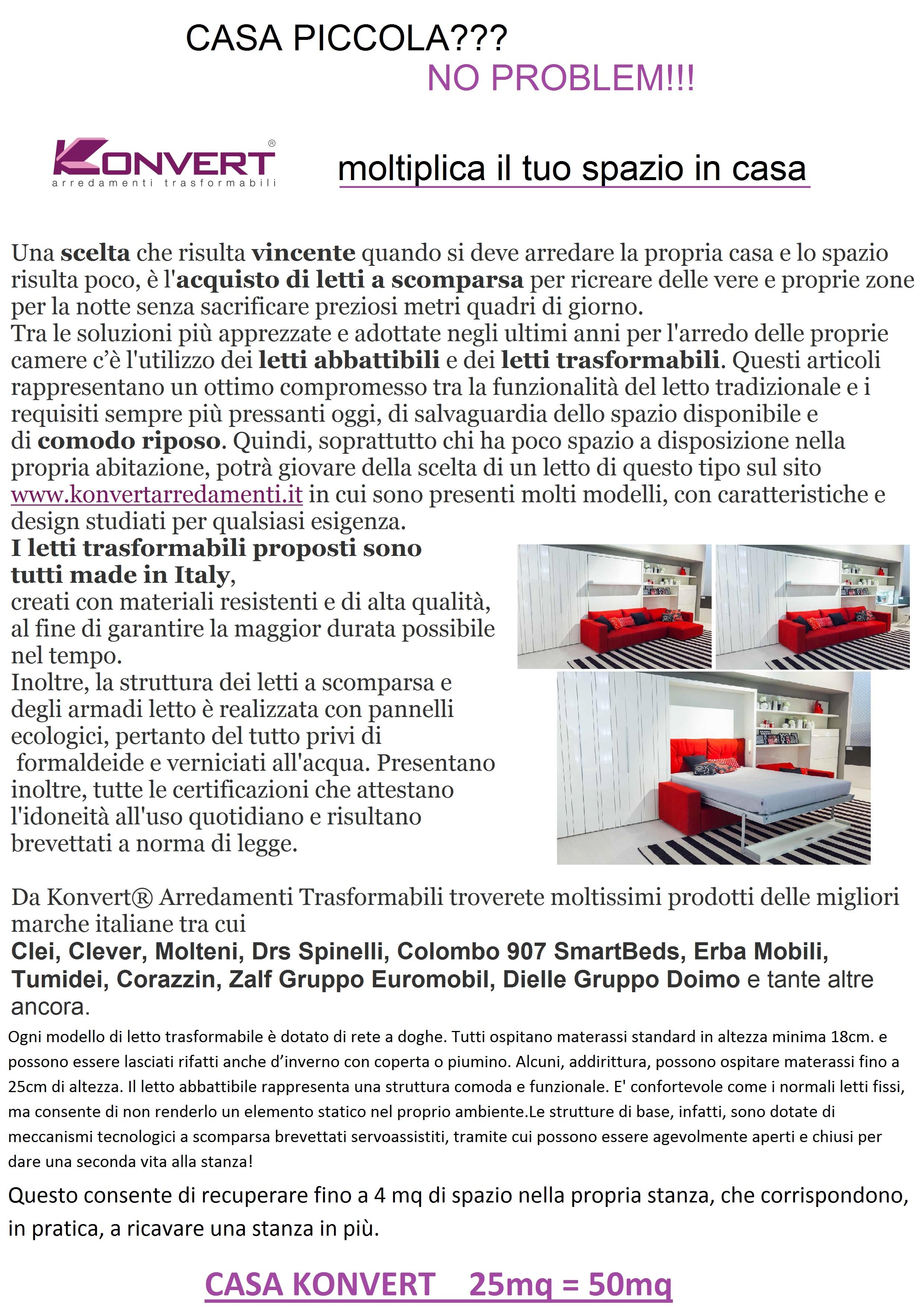 Casa piccola no problem konvert arredamenti trasformabili for Arredamenti trasformabili